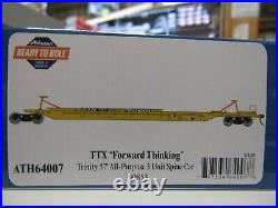ATHEARN 64007 HO TTX TRINITY 75ft ALL PURPOSE 3 UNIT SPINE CAR SET RD#360853