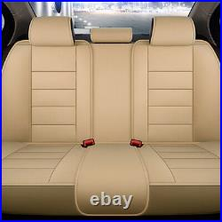 Beige US Design 5-Seat Car SUV PU Leather Seat Covers Cushions Front+Rear Set