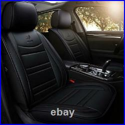 Black PU Leather Car Seat Covers Embroidery Design Full Set For 5-Seats Car SUV