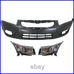 Bumper Cover Kit For 2011-2014 Chevrolet Cruze Front 3 Pieces