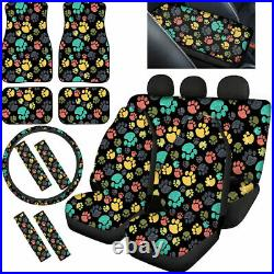 Cute Paws Design Car Seat Covers Soft Comfort for Womens Auto Interior Full Set