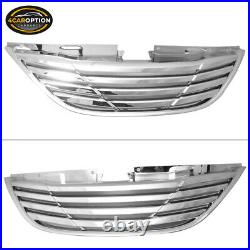 Fits 11-14 Hyundai Sonata Front Hood Upper Grille Grill Chrome ABS