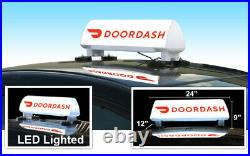 LED Lighted Car Top Sign and Full Color Design For Door Dash Food Delivery