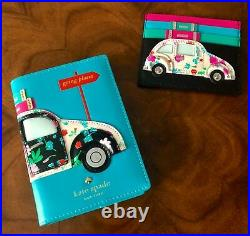 NWT Kate Spade SCENIC ROUTE V. W. CAR Leather Appliqué Card Case Mini Wallet