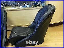 Pair HEATED BB Vintage Classic Car Bucket Seats Low Round Back Universal Design