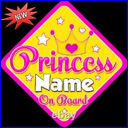 Personalised Baby On Board Car Sign Princess New Pink & Yellow Design 1