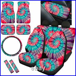 Tie Dye Design Car Seat Covers for Women Auto Accessories Full Set 12/14 Pack