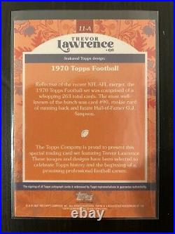 Topps X Trevor Lawrence On Card Auto Rookie #/99 1970 Topps Football Design 11-a